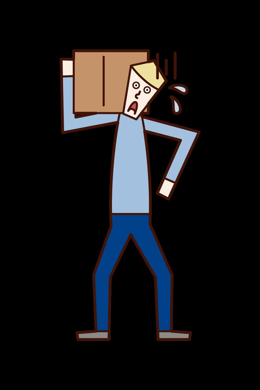 重い荷物を運ぶ人(男性)のイラスト