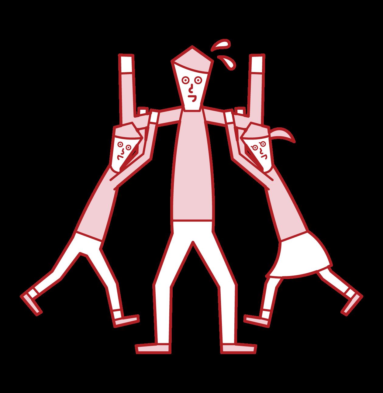 子供たちと遊ぶ人(男性)のイラスト