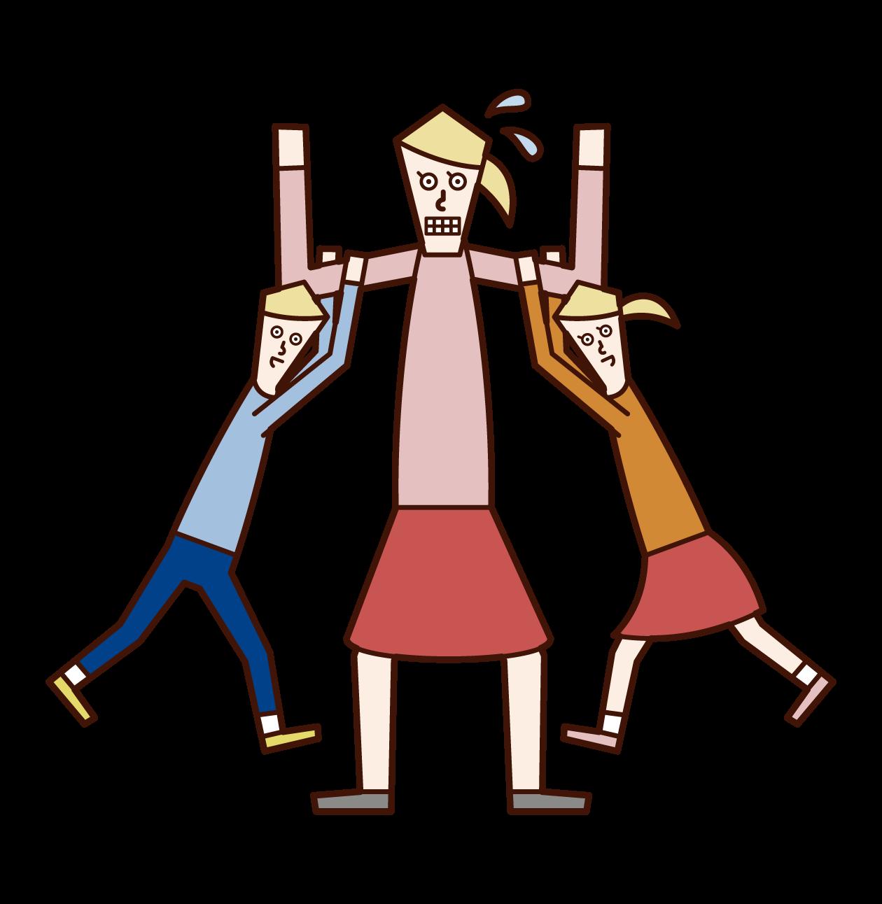 子供たちと遊ぶ人(女性)のイラスト