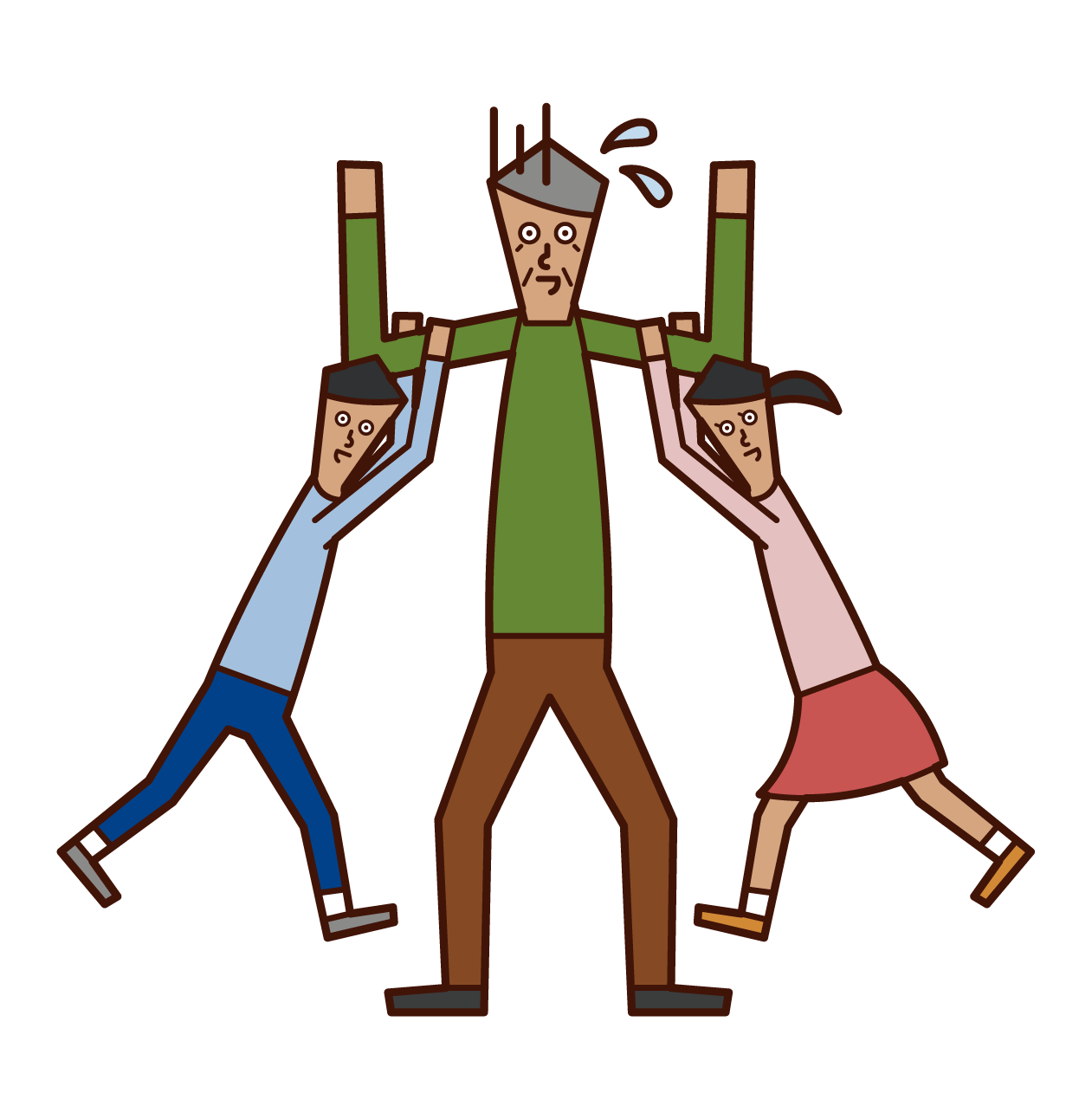 Illustration of an old man playing with children