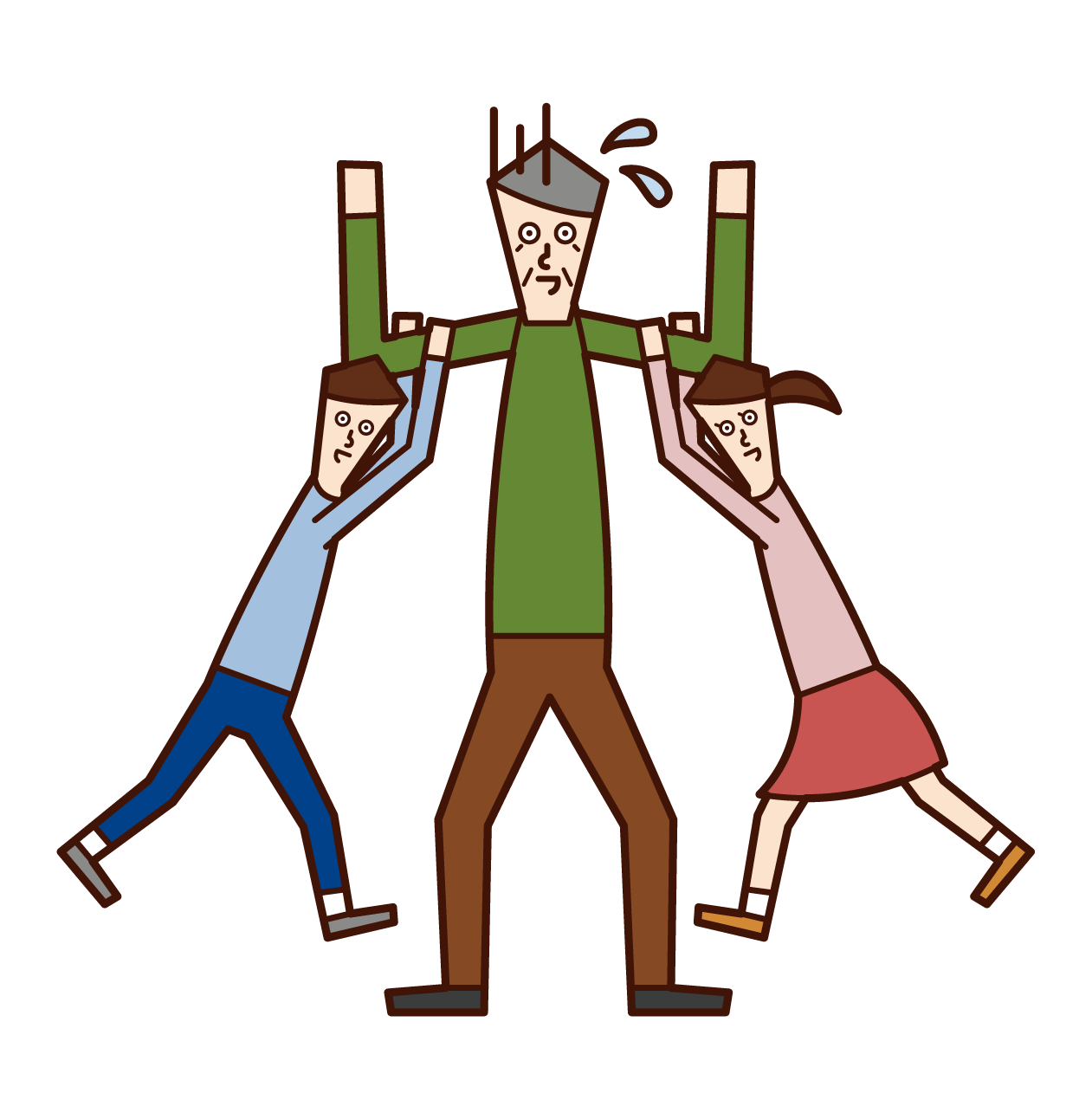 子供たちと遊ぶ老人(男性)のイラスト