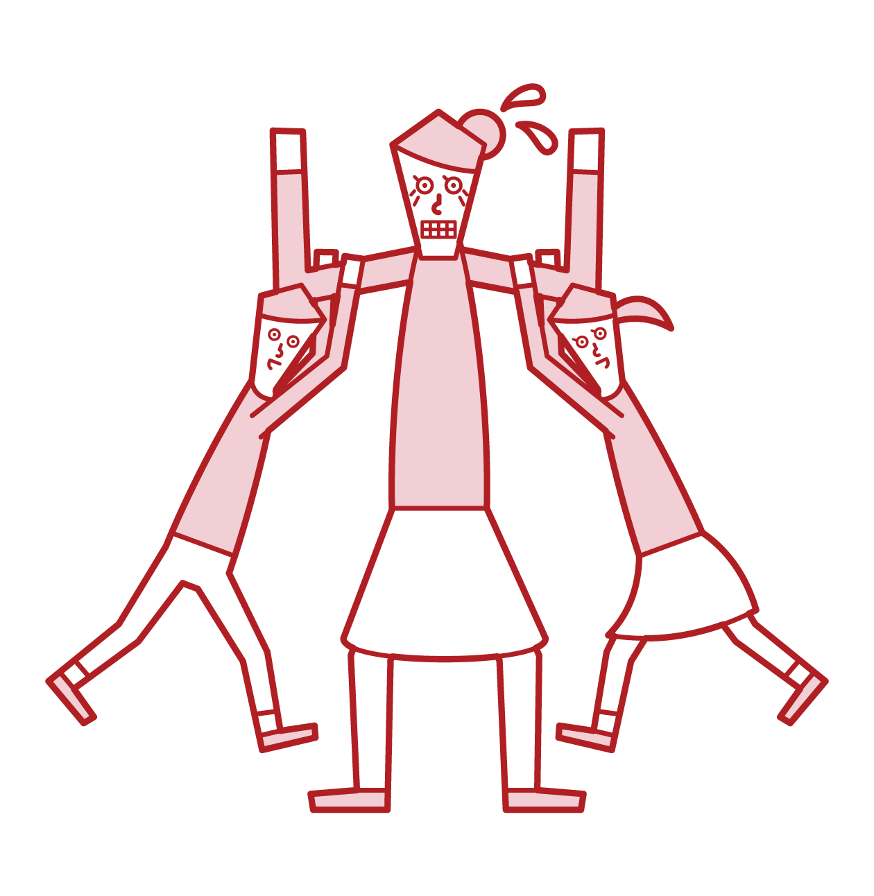 子供たちと遊ぶ老人(女性)のイラスト