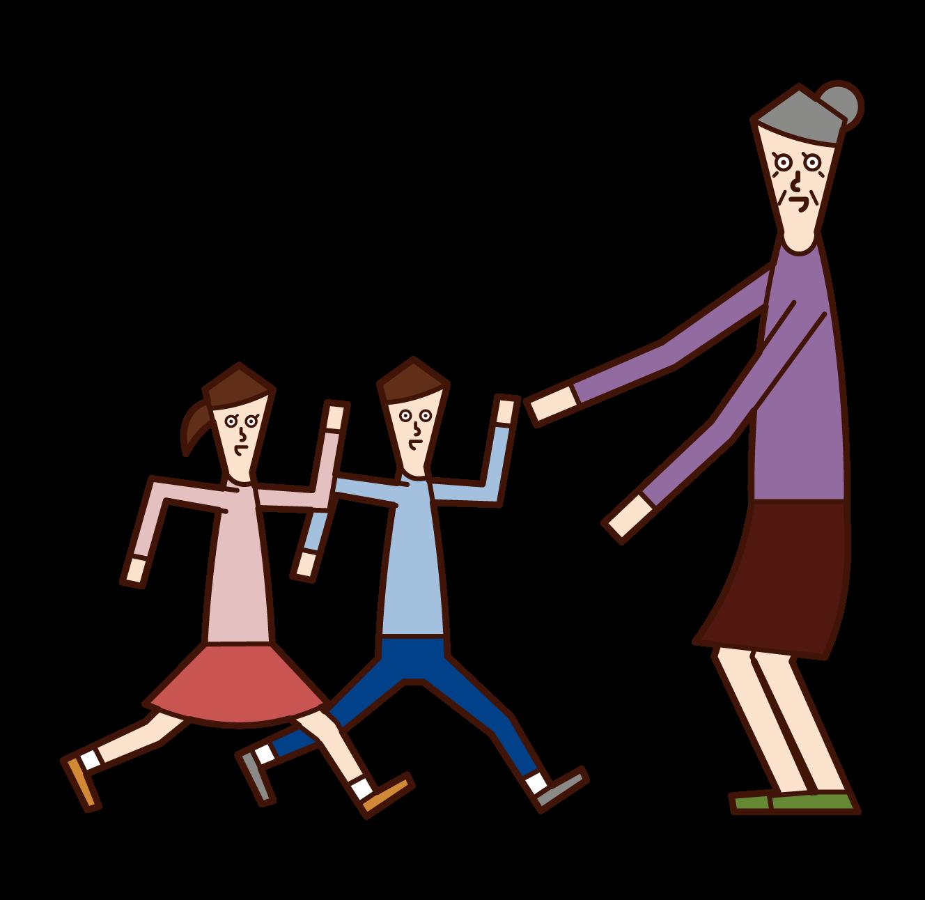 子供たちを出迎える老人(女性)のイラスト