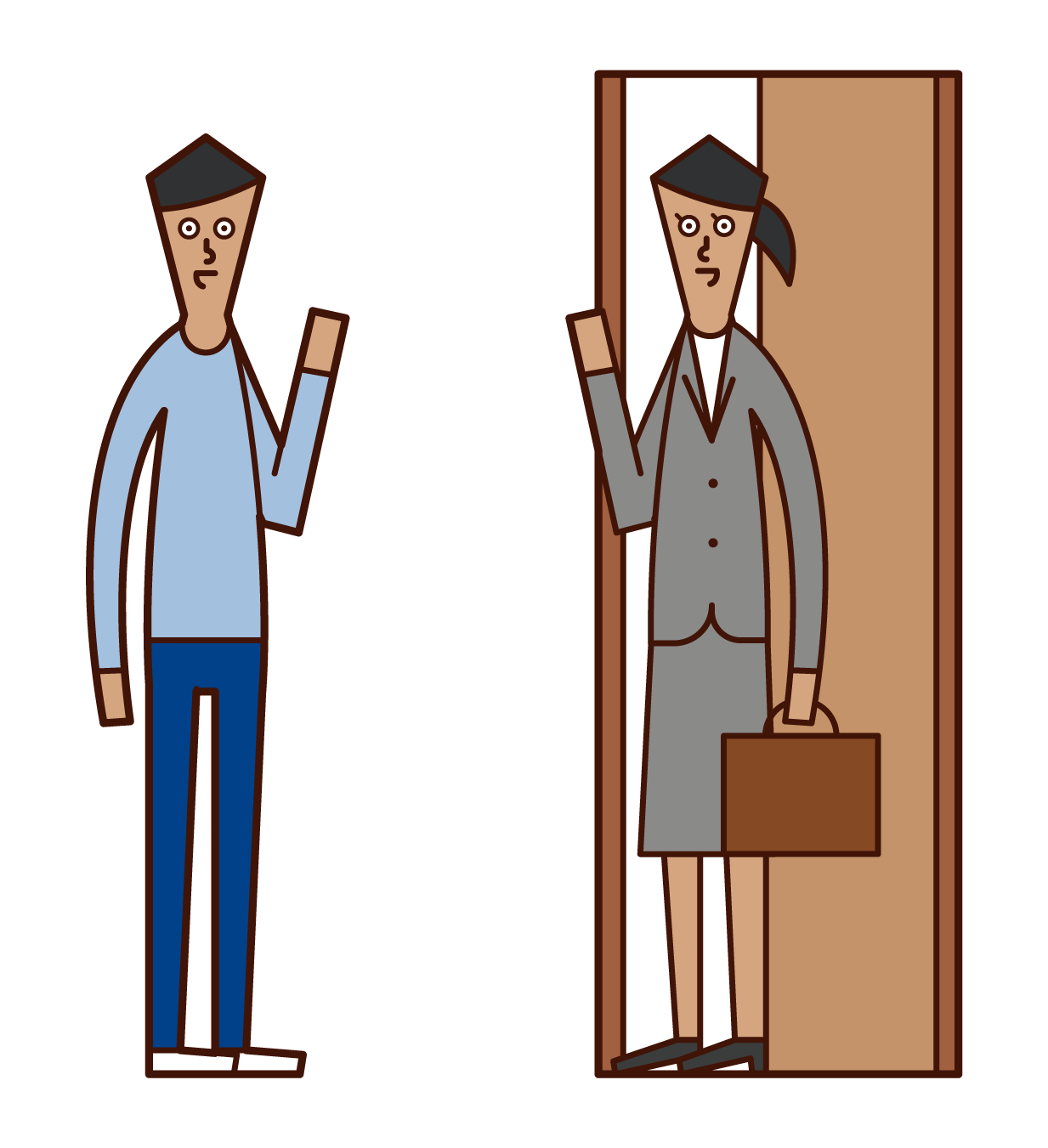 Illustration of a husband seeing off his wife