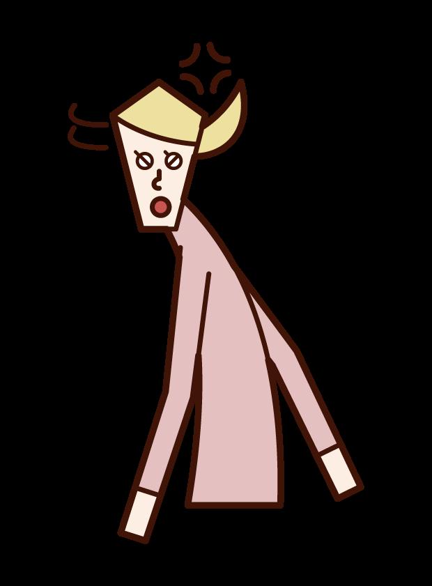 怒りながら振り向く人(女性)のイラスト