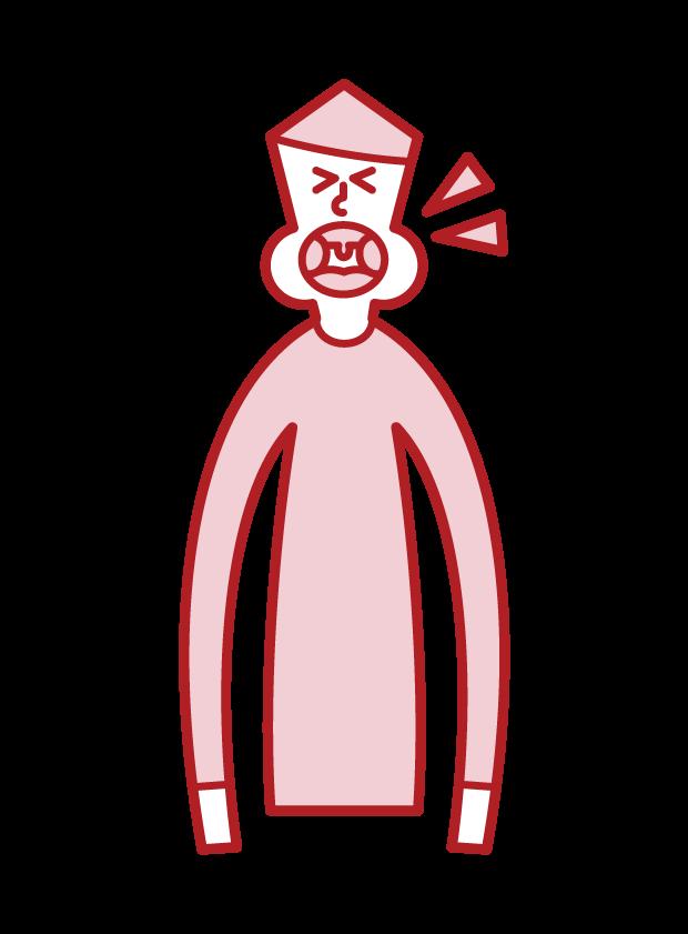 Illustration of tonsil hypertrophy (male)