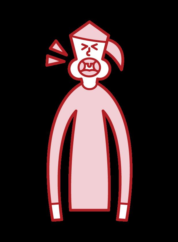 Illustration of tonsil hypertrophy (female)