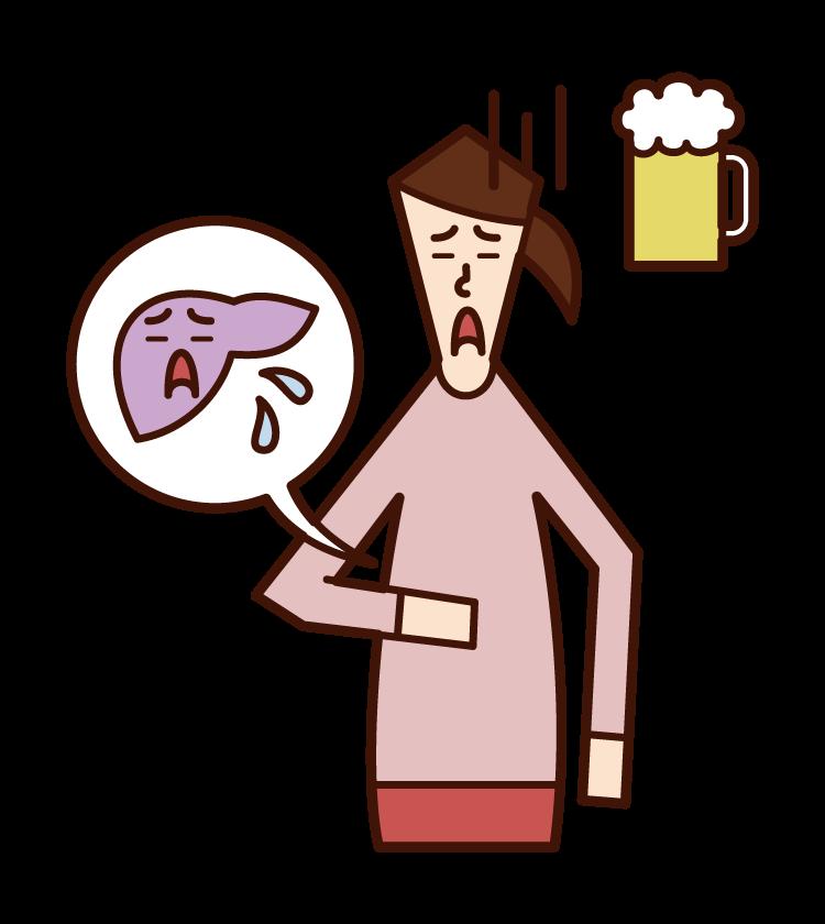 Illustration of liver disease (female)
