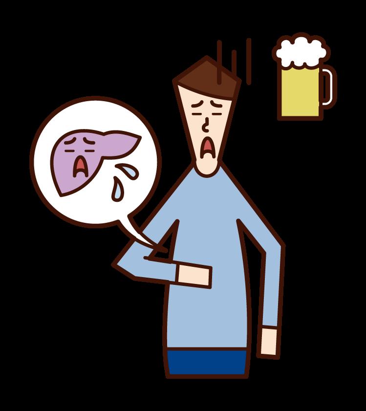 Illustration of liver disease (male)