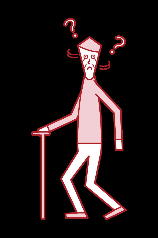 認知症の老人(男性)のイラスト