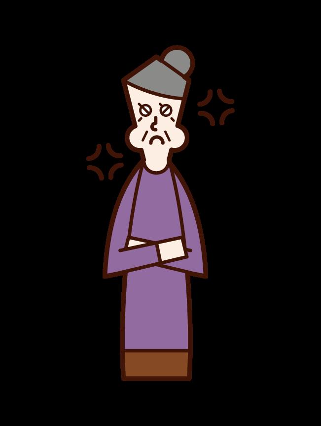 怒る認知症の老人(女性)のイラスト