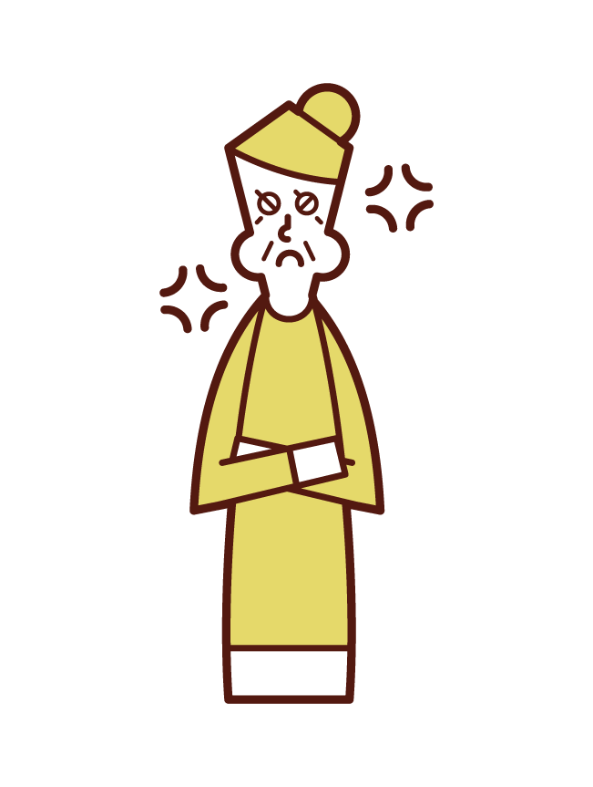 Illustration of an angry elderly man (female) with dementia