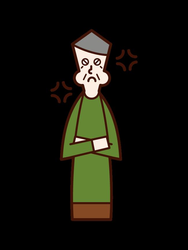 怒る認知症の老人(男性)のイラスト