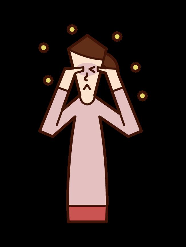 花粉症(女性)のイラスト