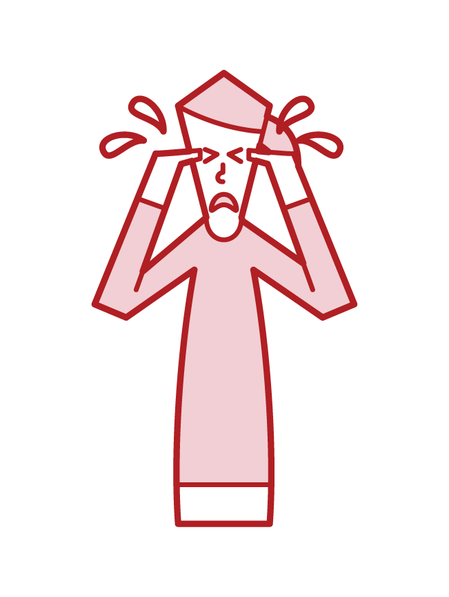 Illustration of a crying person (woman)