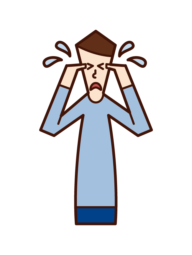 Illustration of a crying man (male)