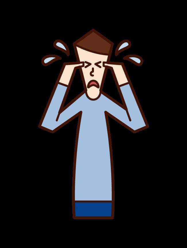 Illustration of a crying man (man)