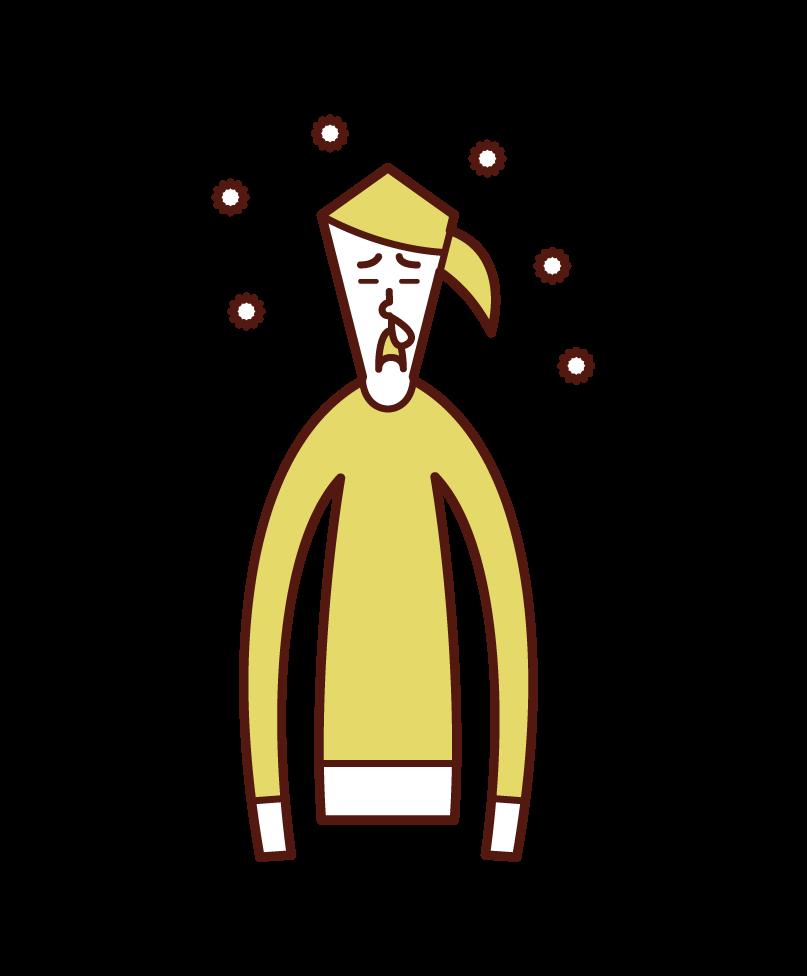 花粉症で鼻水が出ている人(女性)のイラスト