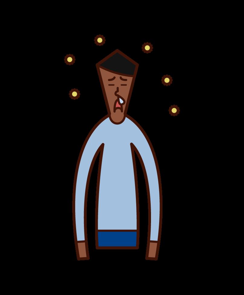 花粉症で鼻水が出ている人(男性)のイラスト