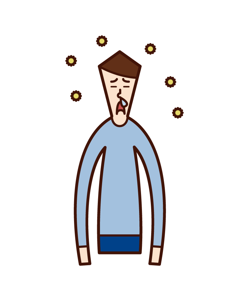 Illustration of a man with hay fever and runny nose