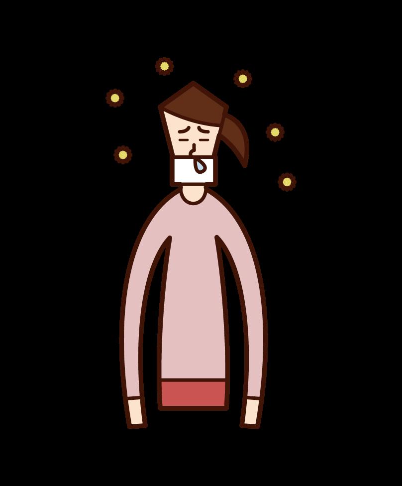 因花粉熱而戴口罩的人(女性)的插圖