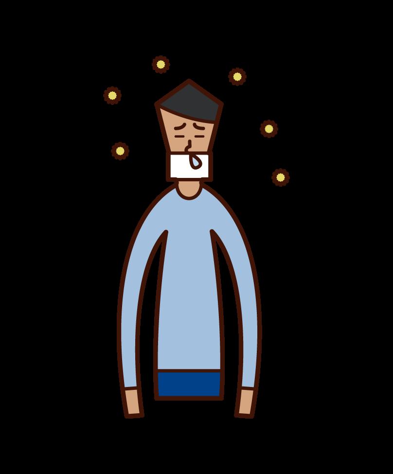 花粉症でマスクを着用している人(男性)のイラスト