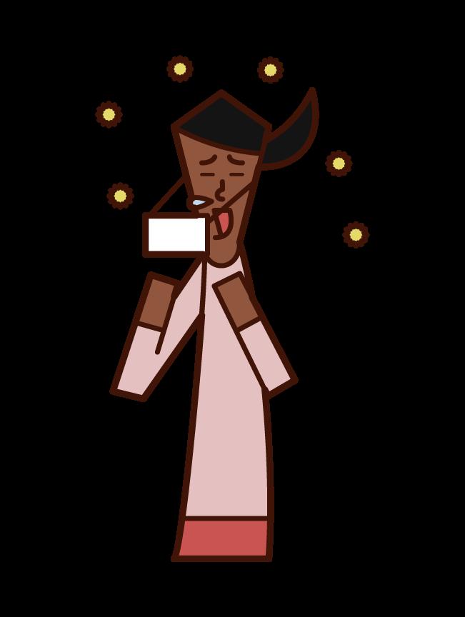 花粉症でくしゃみをする人(女性)のイラスト