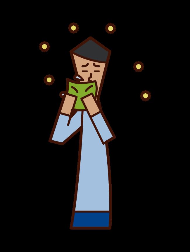 くしゃみをハンカチで抑える人(男性)のイラスト