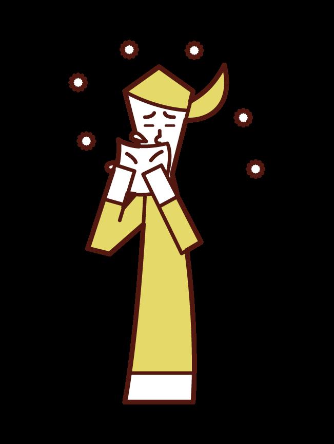 くしゃみをハンカチで抑える人(女性)のイラスト