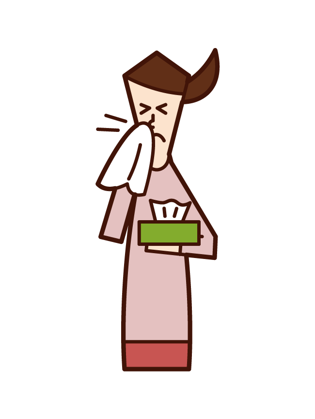 Illustration of a woman with a runny nose