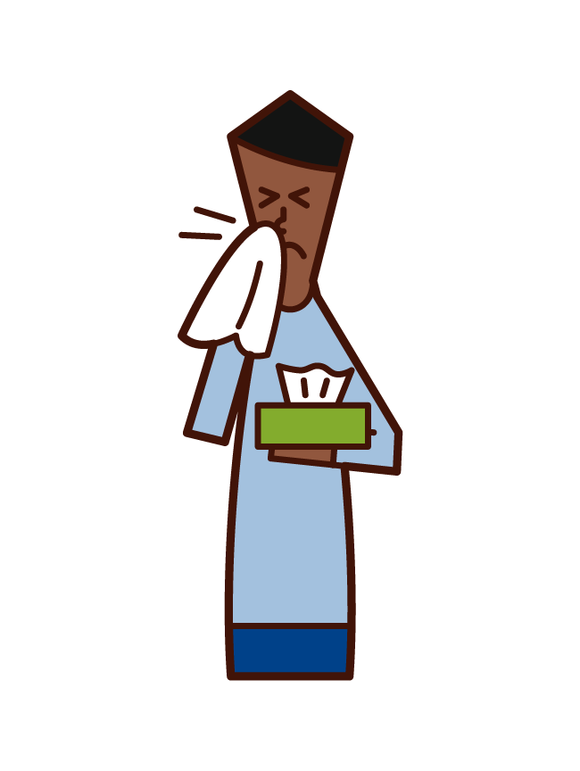 Illustration of a man who blows his nose with tissue paper