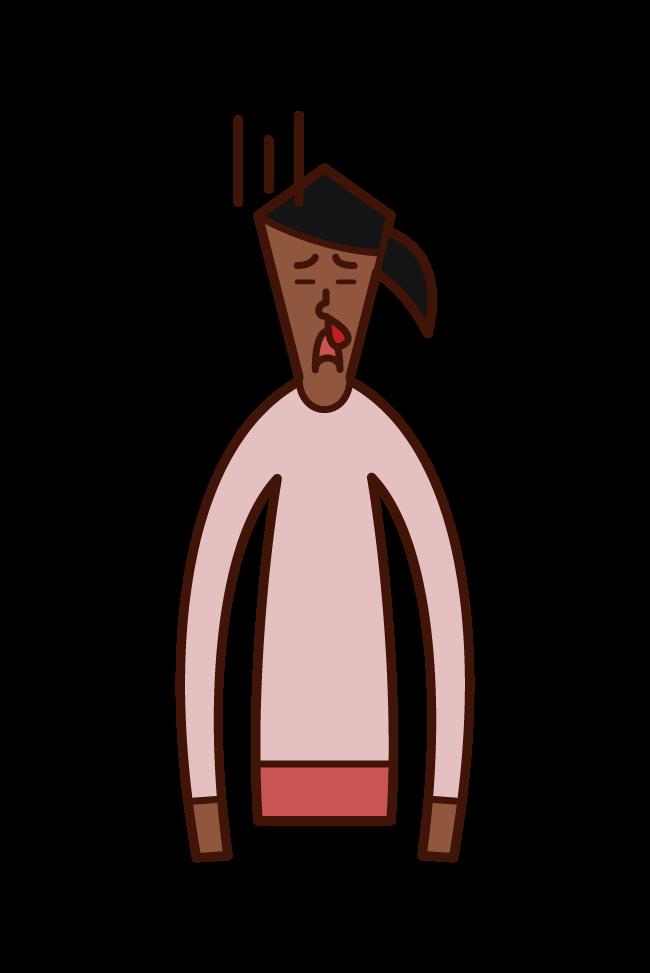 鼻血が出ている人(女性)のイラスト