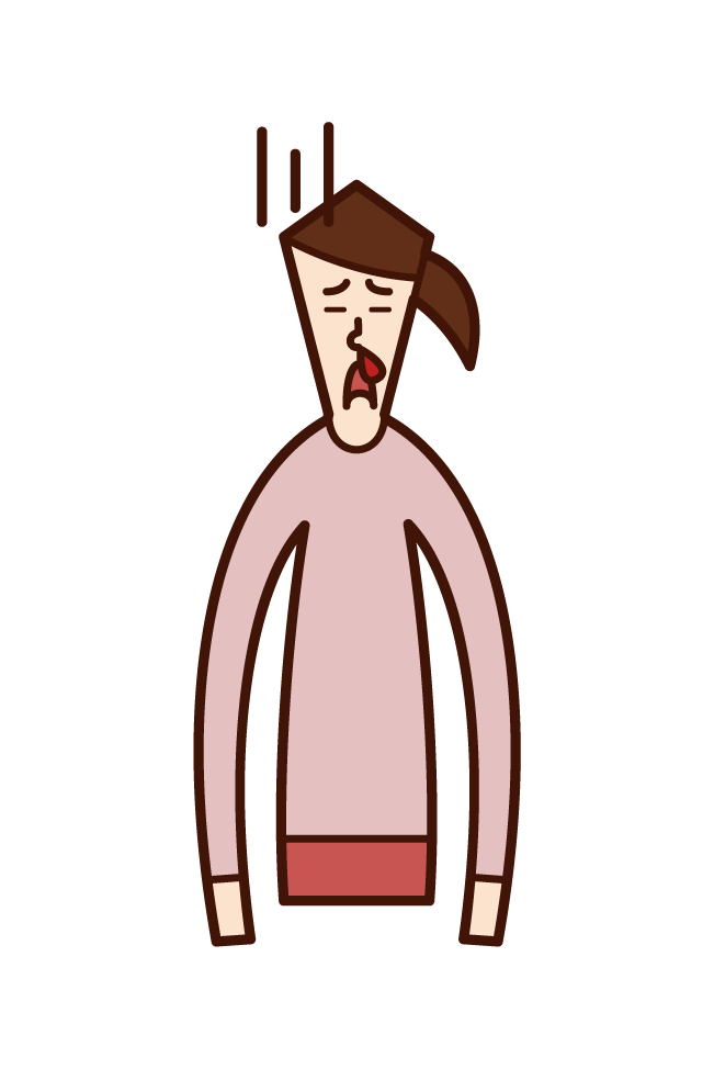 Illustration of a woman with a nosebleed