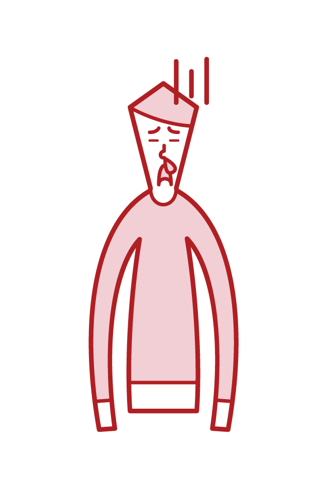Illustration of a man with a nosebleed