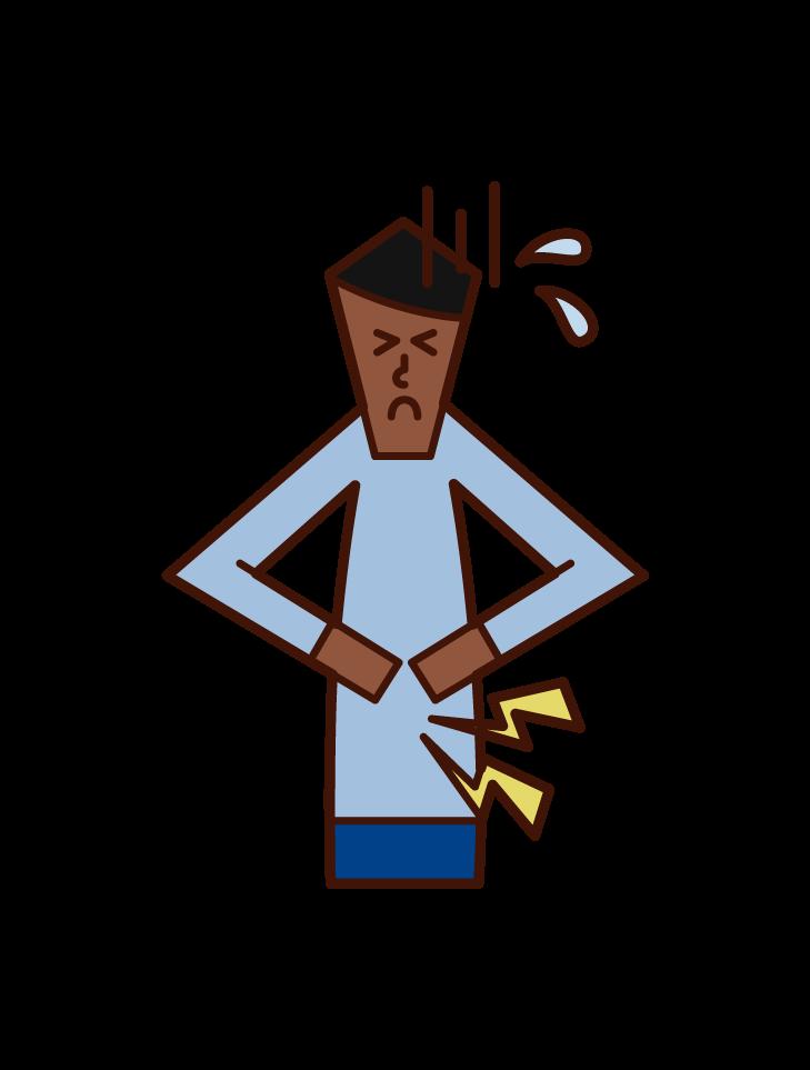 腹痛で苦しむ人(男性)のイラスト