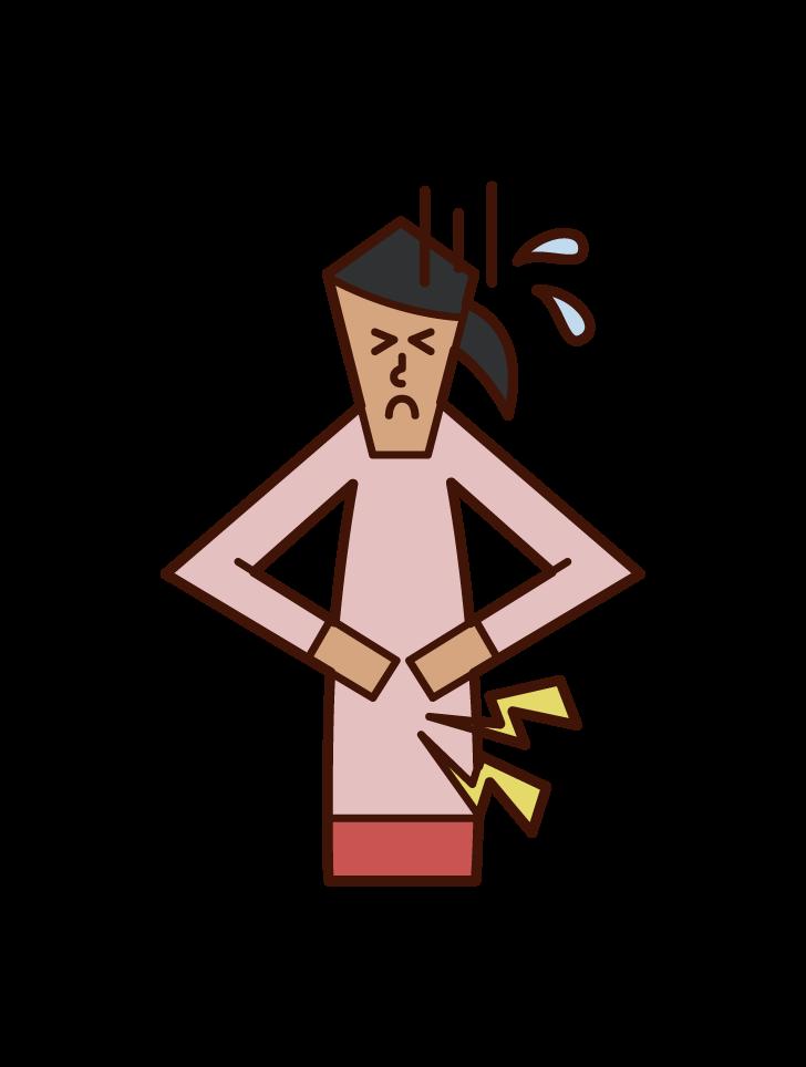 腹痛や生理痛で苦しむ人(女性)のイラスト