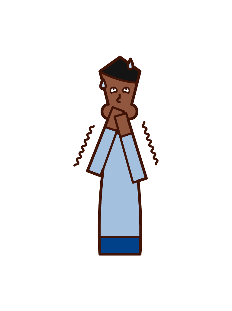 Illustration of a person (male) who is nauseous