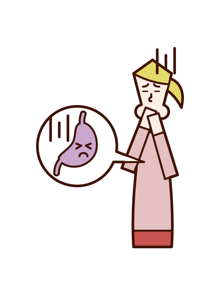 胃もたれで辛そうな人(女性)のイラスト