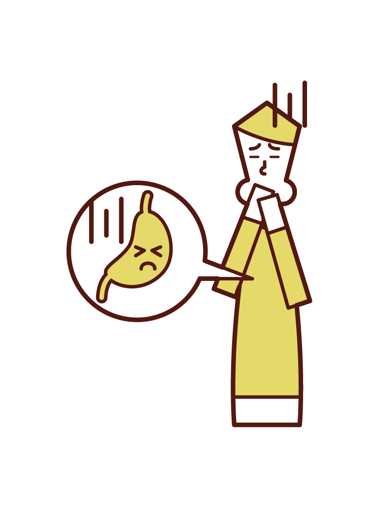 Illustration of a person (male) who seems to be the stomach