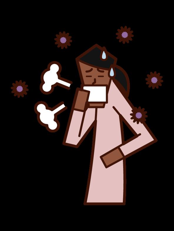 インフルエンザ(女性)のイラスト