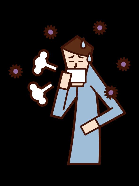 インフルエンザ(男性)のイラスト