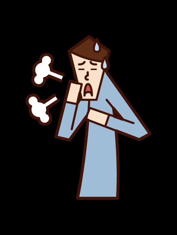 Illustration of asthma, peri breathing, bronchitis (man)
