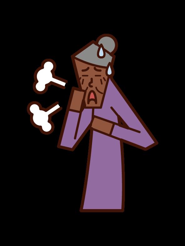 Illustration of asthma, peri breathing, bronchitis (female)