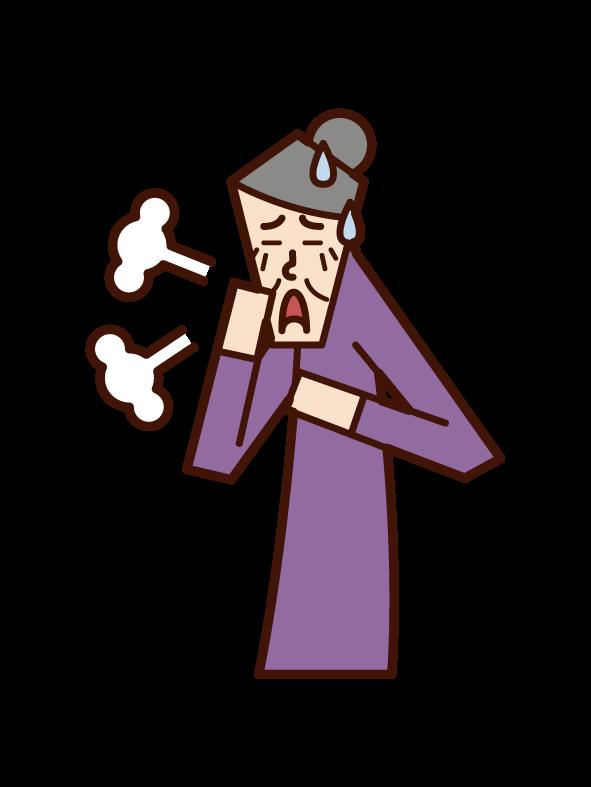 喘息・過呼吸・気管支炎(女性)のイラスト