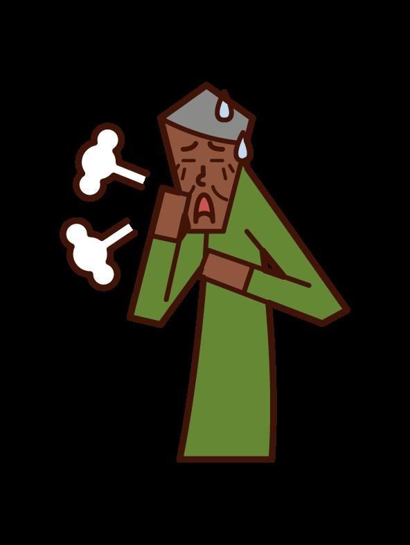 Illustration of asthma, peri breathing, bronchitis (male)