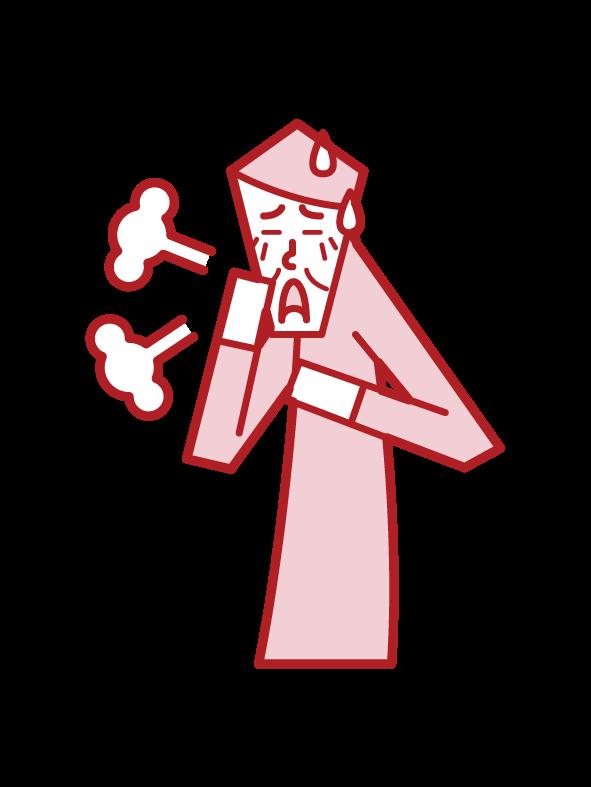 천식, 과호흡 및 기관지염 (남성)의 그림