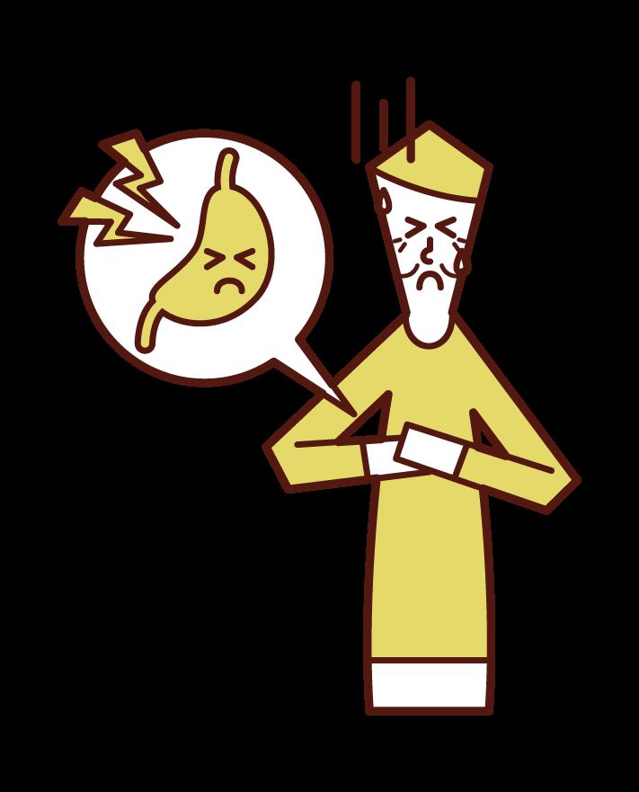 Illustration of gastric cancer (male)