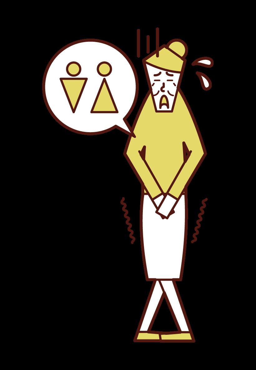 尿意を感じる老人(女性)のイラスト
