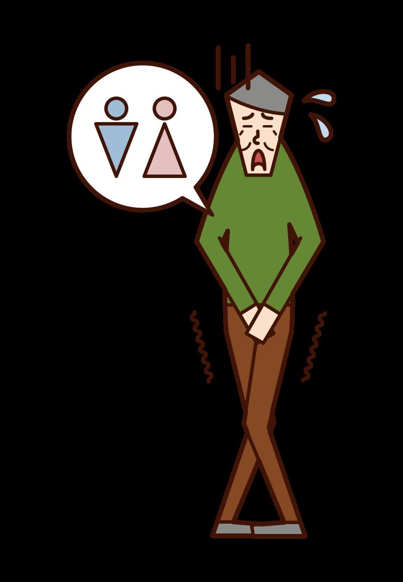 尿意を感じる老人(男性)のイラスト
