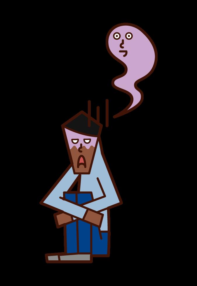 Illustration of severe depression (male)